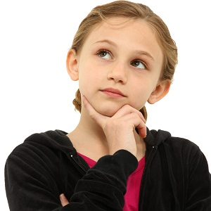 Adorable Caucasian Tween Girl Child Thinking Seriously over Whit